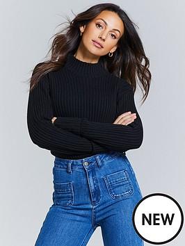 michelle-keegan-high-neck-knitted-jumper-black