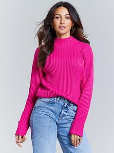 michelle-keegan-high-neck-knitted-jumper-pink