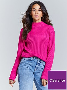 michelle-keegan-high-neck-knitted-jumper-pink