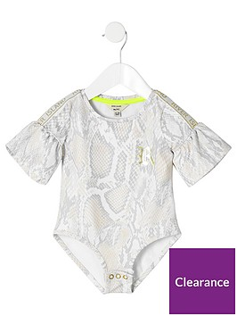 river-island-mini-mini-girls-ri-active-snake-bodysuit-beige