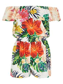 river-island-girls-tropical-print-bardot-playsuit--white