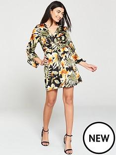 ax-paris-tropical-print-knot-front-dress-multi