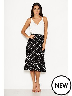 ax-paris-polka-dot-contrast-dress-creamblack