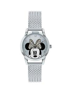 disney-minnie-mouse-silver-crystal-set-dial-stainless-steel-mesh-strap-ladies-watch