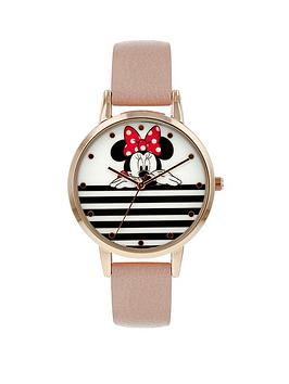 Disney Disney Minnie Mouse White And Black Stripe Dial Nude Leather Strap  ... Picture