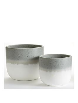 Very Set Of 2 Ombre Ceramic Planters Picture