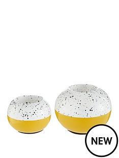 set-of-2-ochre-and-white-tealight-holders