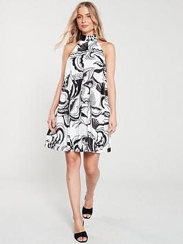 river-island-river-island-white-print-halterneck-pleated-dress--white