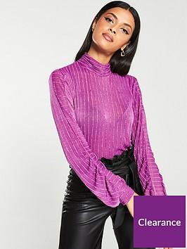 v-by-very-sheer-stripe-jersey-blouson-sleeve-top-purple