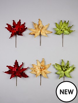 gisela-graham-traditional-poinsetta-clip-on-floral-christmas-tree-decorations-set-of-6