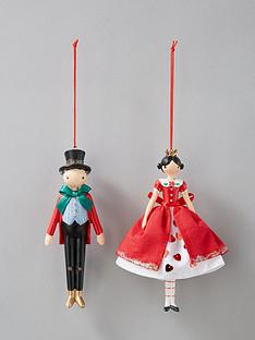 gisela-graham-queen-and-mad-hatter-christmas-tree-decorations-set-of-2
