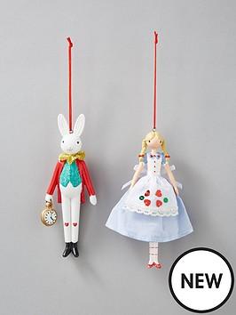 gisela-graham-gisela-graham-set-2-alice-rabbit-tree-decorations