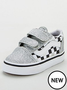 vans-old-skool-checkerboard-toddler-trainers-silver-glitter
