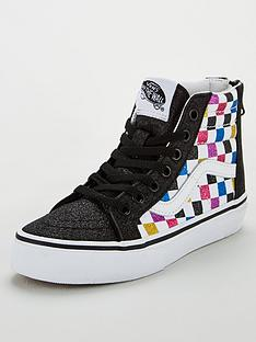 vans-sk8-hi-zip-checkerboard-childrens-trainers-blackwhite