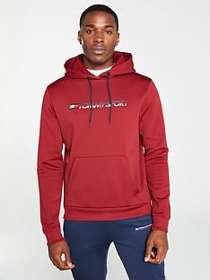tommy-hilfiger-fleece-logo-overhead-hoodie-red