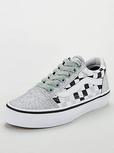 vans-old-skool-checkerboard-childrens-trainers-silver-glitter