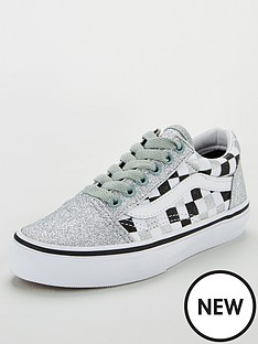 vans-old-skool-checkerboard-childrens-trainers-silver-glitter