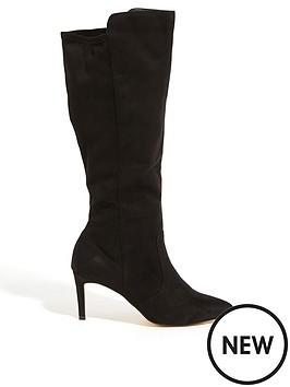 oasis-heeled-long-suedette-boots-black