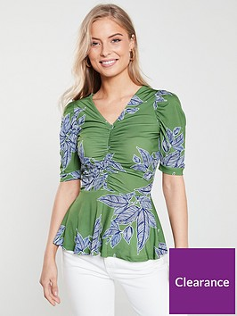 v-by-very-ruched-short-sleeve-top-greenfloral