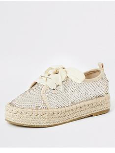river-island-girls-sequin-espadrille-plimsoll-cream