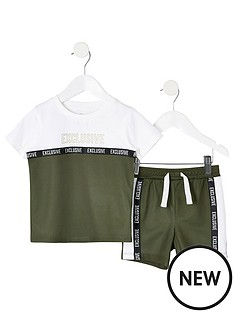 e7d1216d34 River Island Mini Mini Boys Mesh T-Shirt And Short Outfit - Khaki