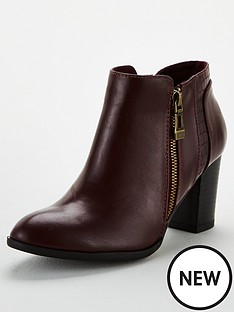 wallis-mix-material-side-zip-block-heel-ankle-boot-wine