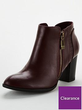 wallis-mix-material-side-zip-block-heel-ankle-boot-wine