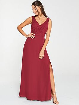 V by Very V By Very Pleated Bust Maxi Dress- Burgundy Picture
