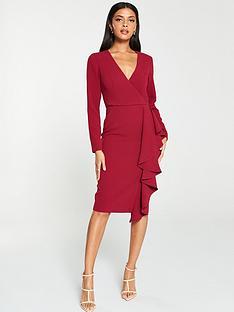v-by-very-ruffle-detail-pencil-dress-berrypurple