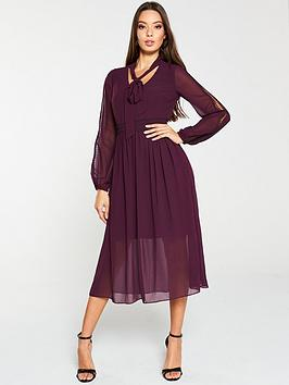 V by Very V By Very Lace Trim Soft Woven Midi Dress - Purple