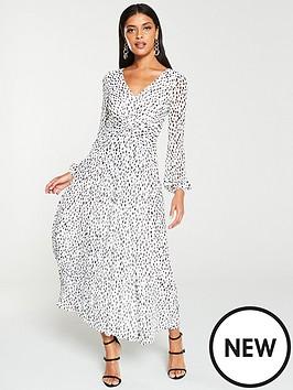v-by-very-twist-front-pleated-midi-dress-monochrome