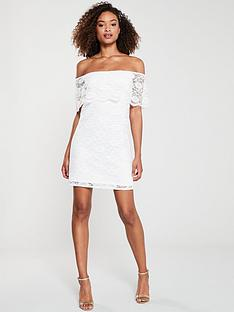 v-by-very-lace-bardotnbspmini-dress-ivory