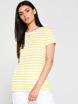 v-by-very-contrast-rib-stripe-tee-yellow
