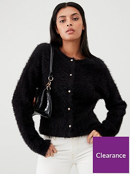 v-by-very-jewel-button-fluffy-cardigan-black