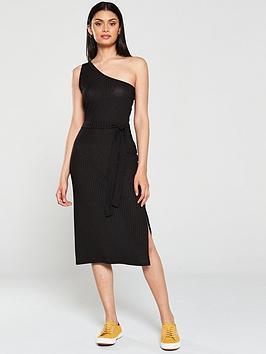 v-by-very-one-shoulder-ribbed-midi-dress-black