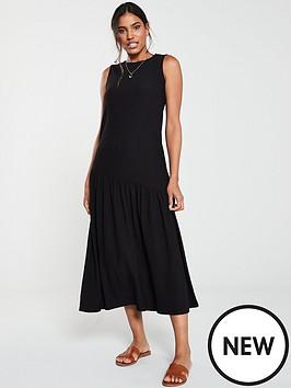 v-by-very-jersey-frill-midi-dress-black