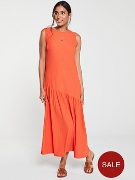 v-by-very-jersey-frill-midi-dress-orange