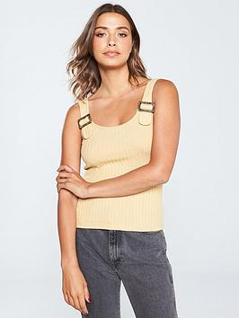v-by-very-buckle-detail-rib-top-mustard