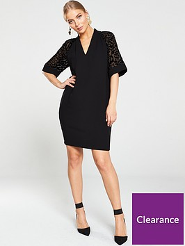 whistles-lina-animal-dobby-sleeve-dress-black