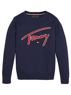 tommy-hilfiger-boys-signature-logo-crew-neck-sweat-top-navy