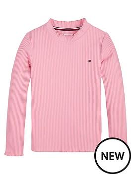 tommy-hilfiger-girls-high-neck-long-sleeve-t-shirt-pink