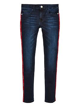 Calvin Klein Jeans Calvin Klein Jeans Girls Logo Skinny Jeans - Dark Blue Picture