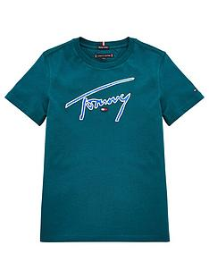 tommy-hilfiger-boys-signature-logo-short-sleeve-t-shirt-dark-green