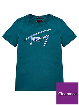 tommy-hilfiger-boys-signature-logo-short-sleeve-t-shirt-dark-green