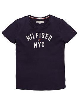 tommy-hilfiger-girls-nyc-logo-short-sleeve-t-shirt-navy