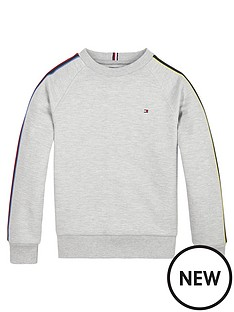 tommy-hilfiger-boys-interlock-stripe-crew-neck-sweat-top-grey-marl