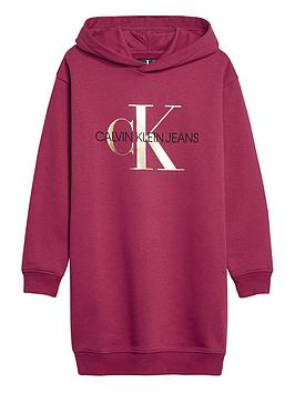 calvin-klein-jeans-girls-hooded-sweat-dress-dark-pink