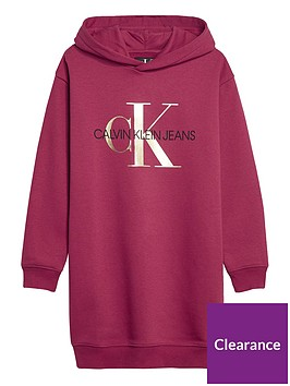 calvin-klein-jeans-girls-hooded-sweat-dress-dark-pink