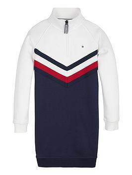 tommy-hilfiger-girls-half-zip-sweat-dress-navywhite