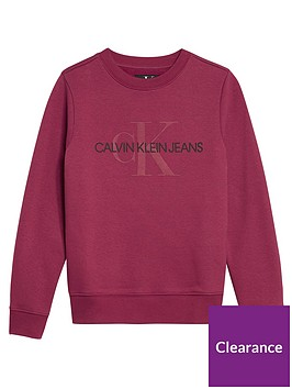 calvin-klein-jeans-girls-monogram-crew-neck-sweat-dark-pink